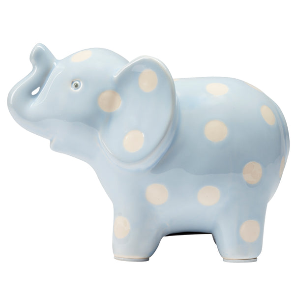 Ceramic Blue Elephant Baby Bank