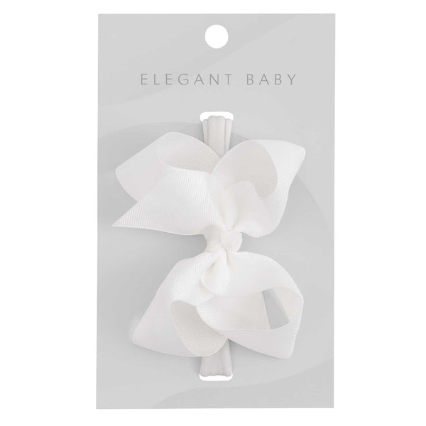 White Baby Girl Hair Bow Headband
