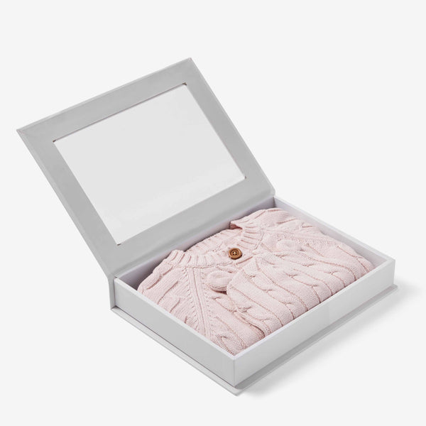 Chalk Pink Boxed Cable Knit Cardigan & Hat Baby Gift Set