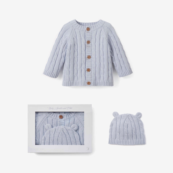 Pale Blue Boxed Cable Knit Cardigan & Hat Baby Gift Set