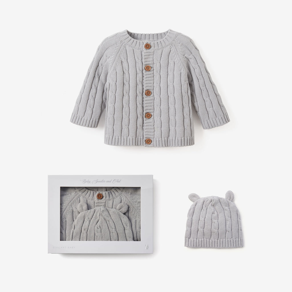 Gray Boxed Cable Knit Cardigan & Hat Baby Gift Set