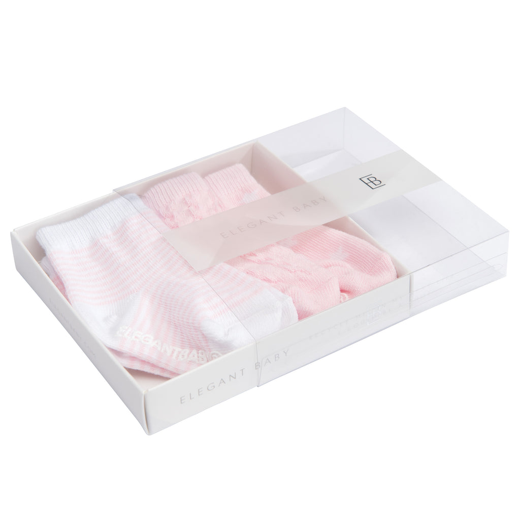 Pink Tonal Cotton Baby Socks 3 pk