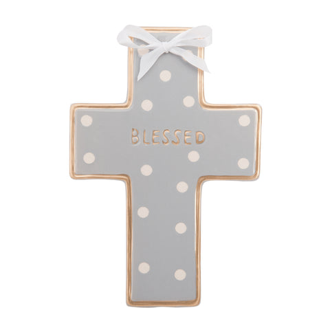 Ceramic Cross Wall Art. Gray Dot.