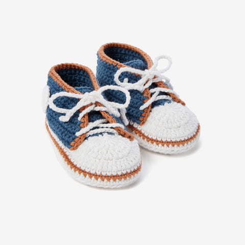 Teal Sneaker Hand Crocheted Baby Booties
