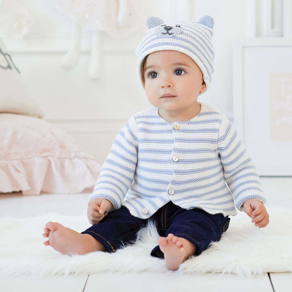 Petit Paris Blue Stripe Knit Baby Cardigan