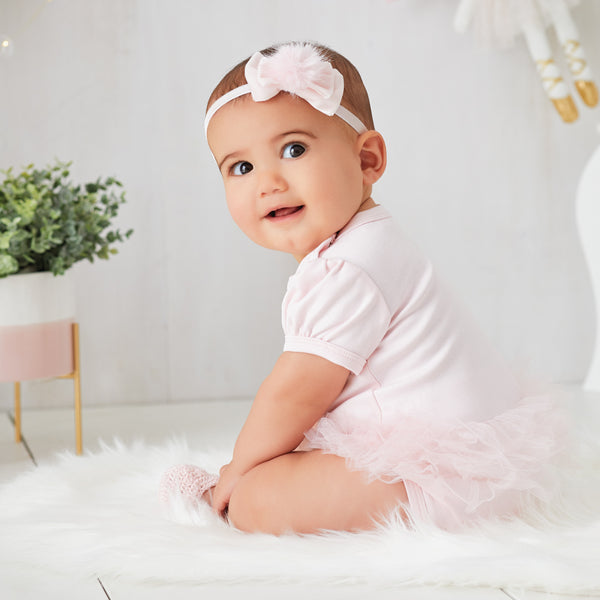 Gray/Pale Pink Pom Pom Baby Girl Headband 2 Pack