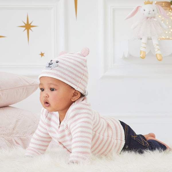 Pink Stripe Bear Baby Hat with Ears