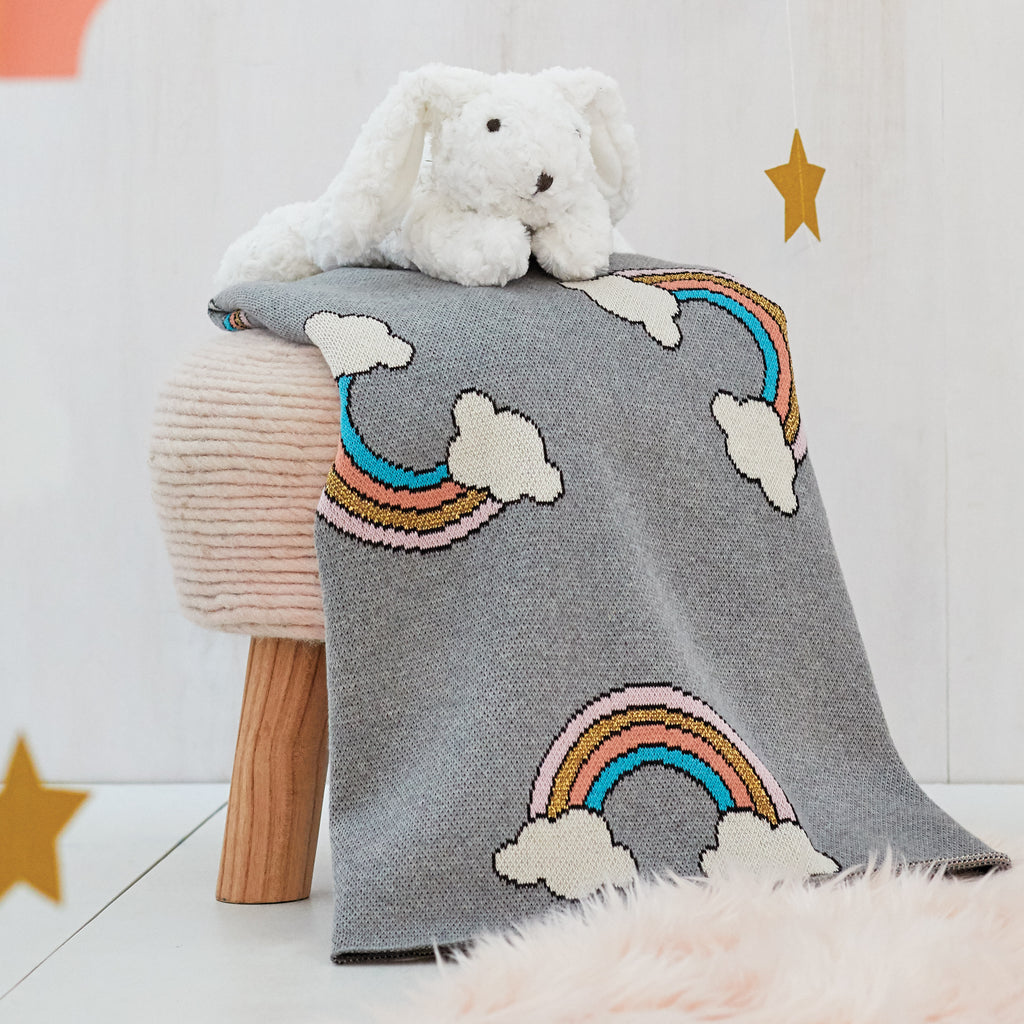 Rainbow Organic Cotton Knit Baby Blanket