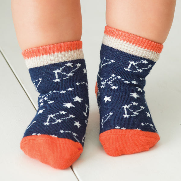 Boys' Snaps & Stars Cotton Baby Socks 6 Pk