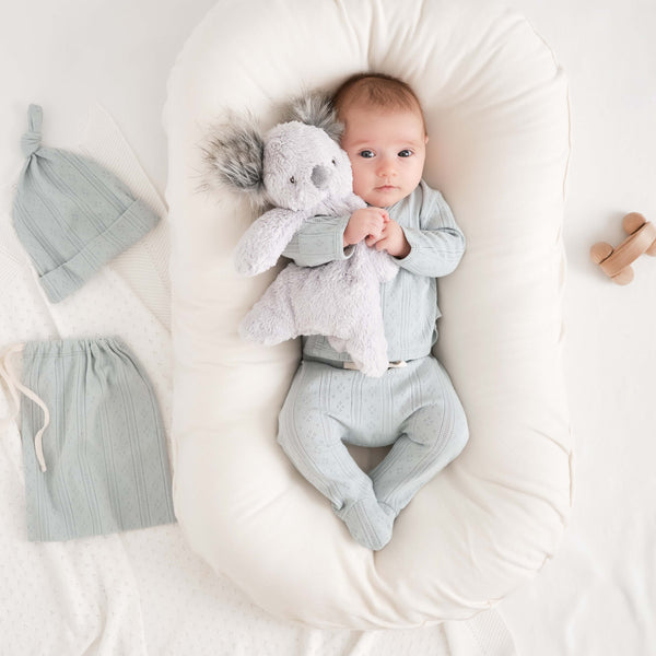 Pale Blue Pointelle Layette Gift Set