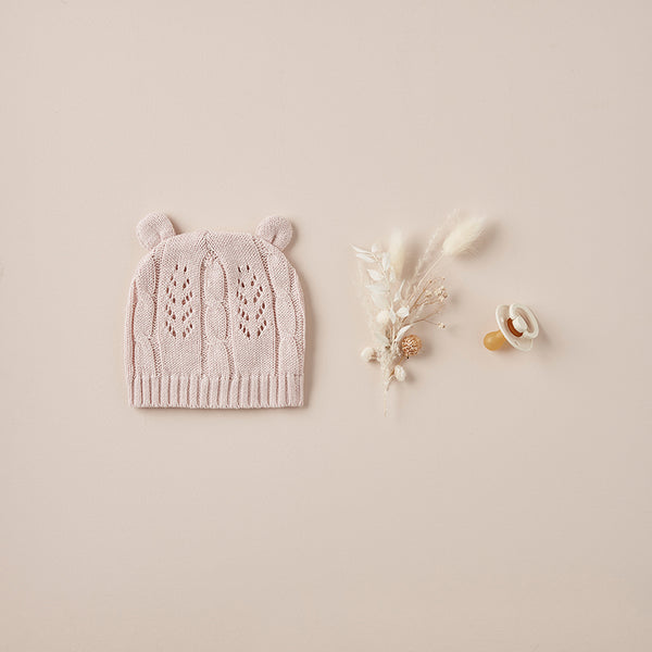 Blush Leaf Knit Baby Hat with Ears