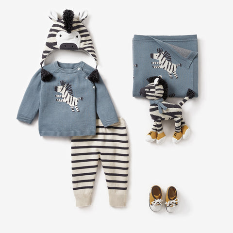 Zebra Sweater & Pant Baby Gift Set