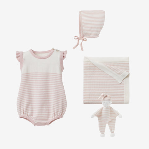 Blush Mini Stripe Bubble Romper Baby Gift Set
