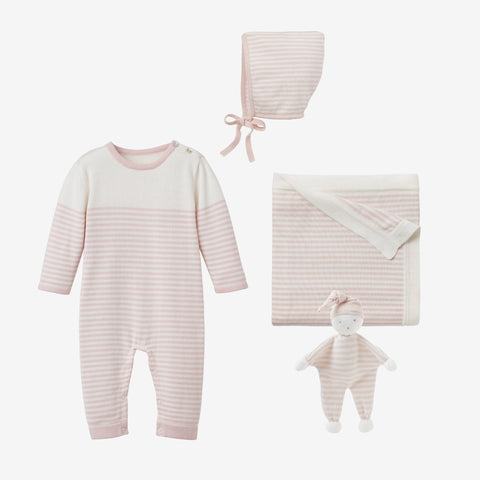 Blush Mini Stripe Jumpsuit Baby Gift Set