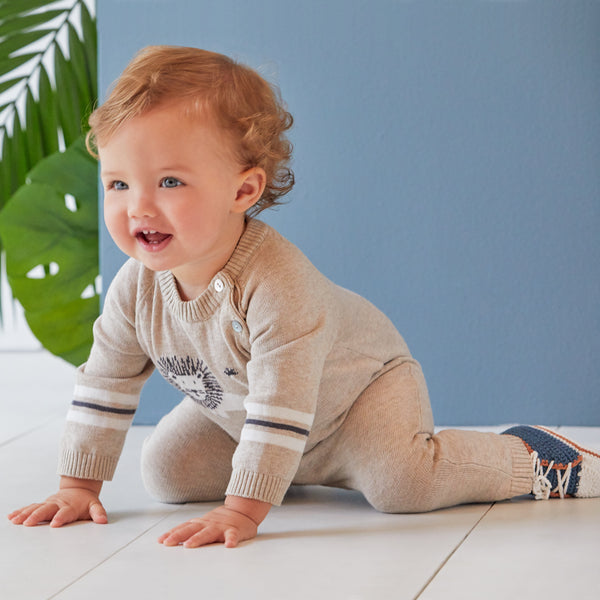 Lion Cotton Knit Baby Jumpsuit