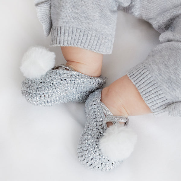 Pom Metallic Hand Crocheted Baby Booties