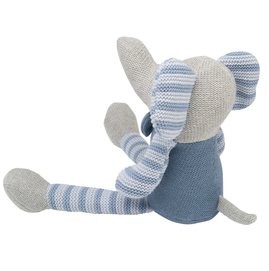 "15"" Blue Stripe Elephant Knit Doll"