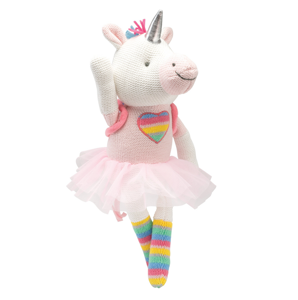 "10"" Rainbow Unicorn Knit Doll"
