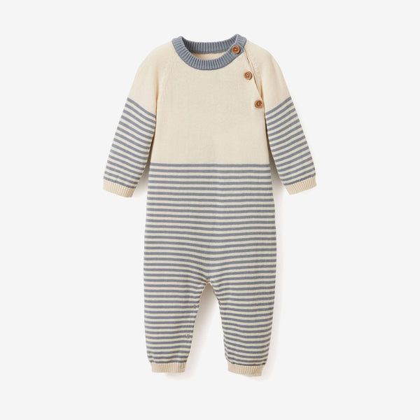Light Teal Stripe Baby Jumpsuit