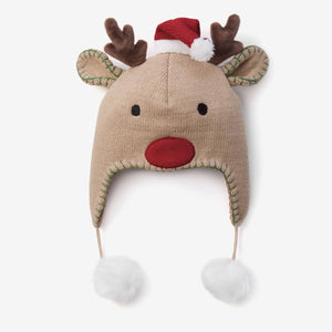 Reindeer Aviator Knit Baby Hat