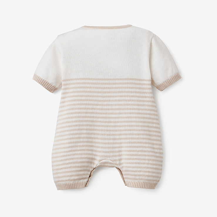 Wheat Mini Stripe Shortall Baby Romper