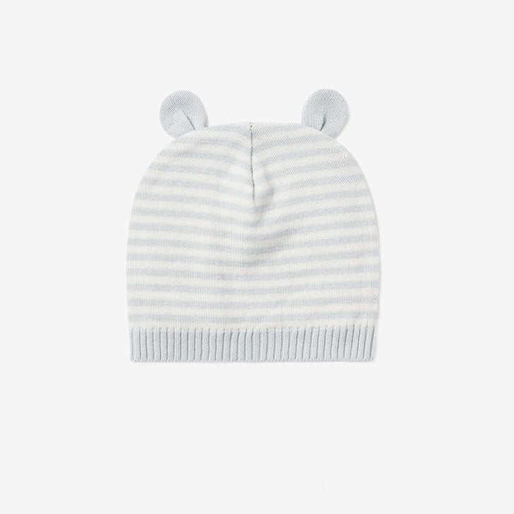 Cloud Blue Mini Stripe Baby Hat w/ Ears
