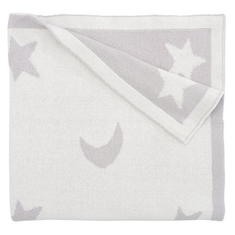 Reversible Star & Moon Blanket Gray/White 30x40