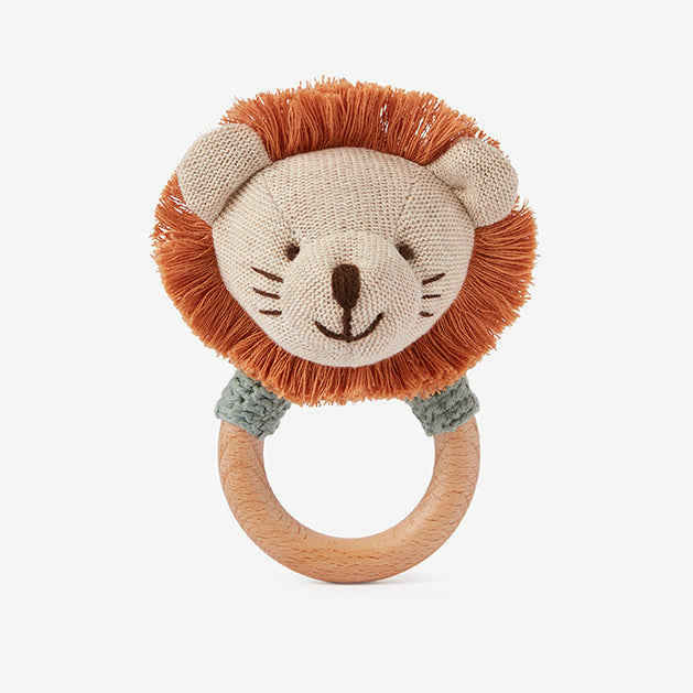 Leo Lion Wooden Baby Rattle