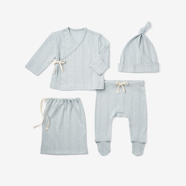 Pale Blue Pointelle Newborn Gift Set