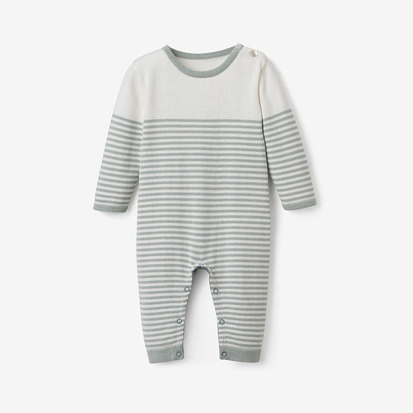 Sage Mini Stripe Cotton Knit Baby Jumpsuit