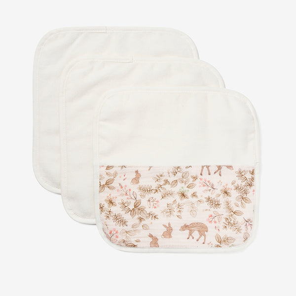 Woodland Print Organic Washcloth Set