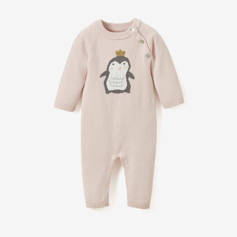 Princess Penguin Ruffle Cotton Knit Baby Jumpsuit