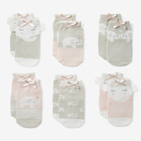 Elephant Princess Non Slip Baby Socks 6pk