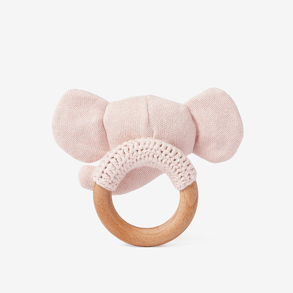 Blush Pink Elephant Wooden Ring Rattle