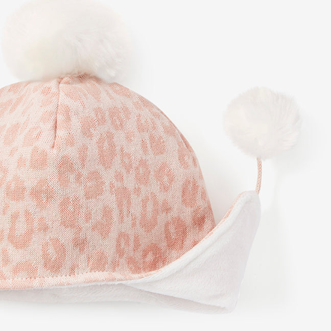 Pink Leopard Aviator Knit Baby Hat