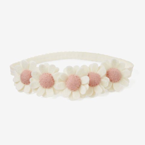 Cream Flower Crown Felt Nylon Baby Headband