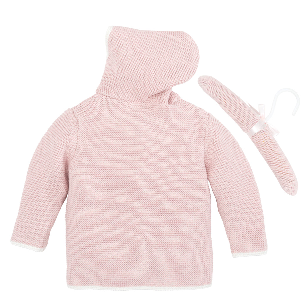 Pink Pom Pom Hooded Cardigan