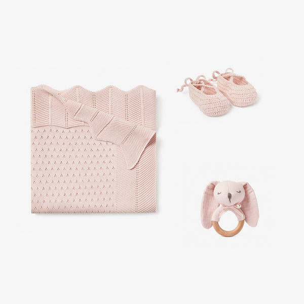 Blush Knit Pointelle Baby Layette Gift Set