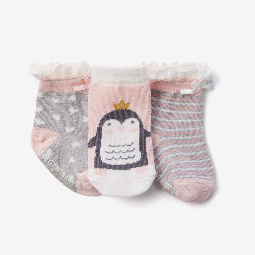 Princess Penguin Cotton Baby Socks 3pk