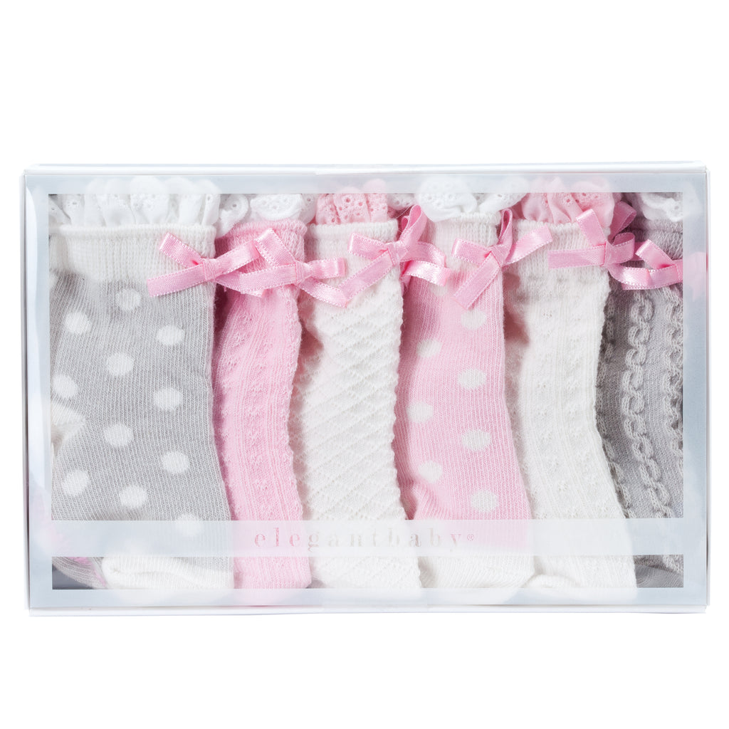 Pink/Gray Ruffle Cotton Baby Socks 6 pk