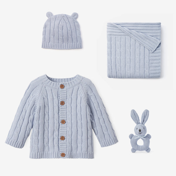 Pale Blue Cable Knit Baby Gift Set