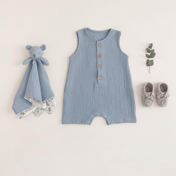 Stone Blue Organic Muslin Button Down Shortall