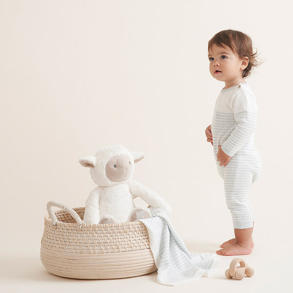 Cloud Blue Mini Stripe Cotton Knit Baby Jumpsuit