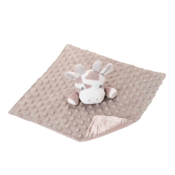 Minky Dot Giraffe Baby Security Blanket