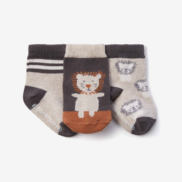 Lion Cotton Baby Socks 3pk