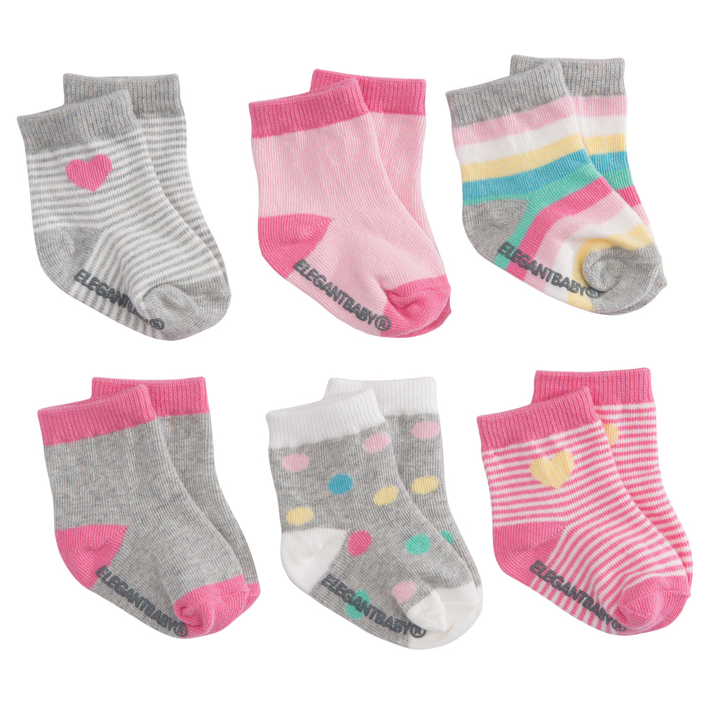 Bright Pink Cotton Baby Socks 6 Pk