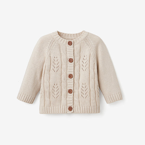 Wheat Leaf Pointelle Knit Baby Cardigan