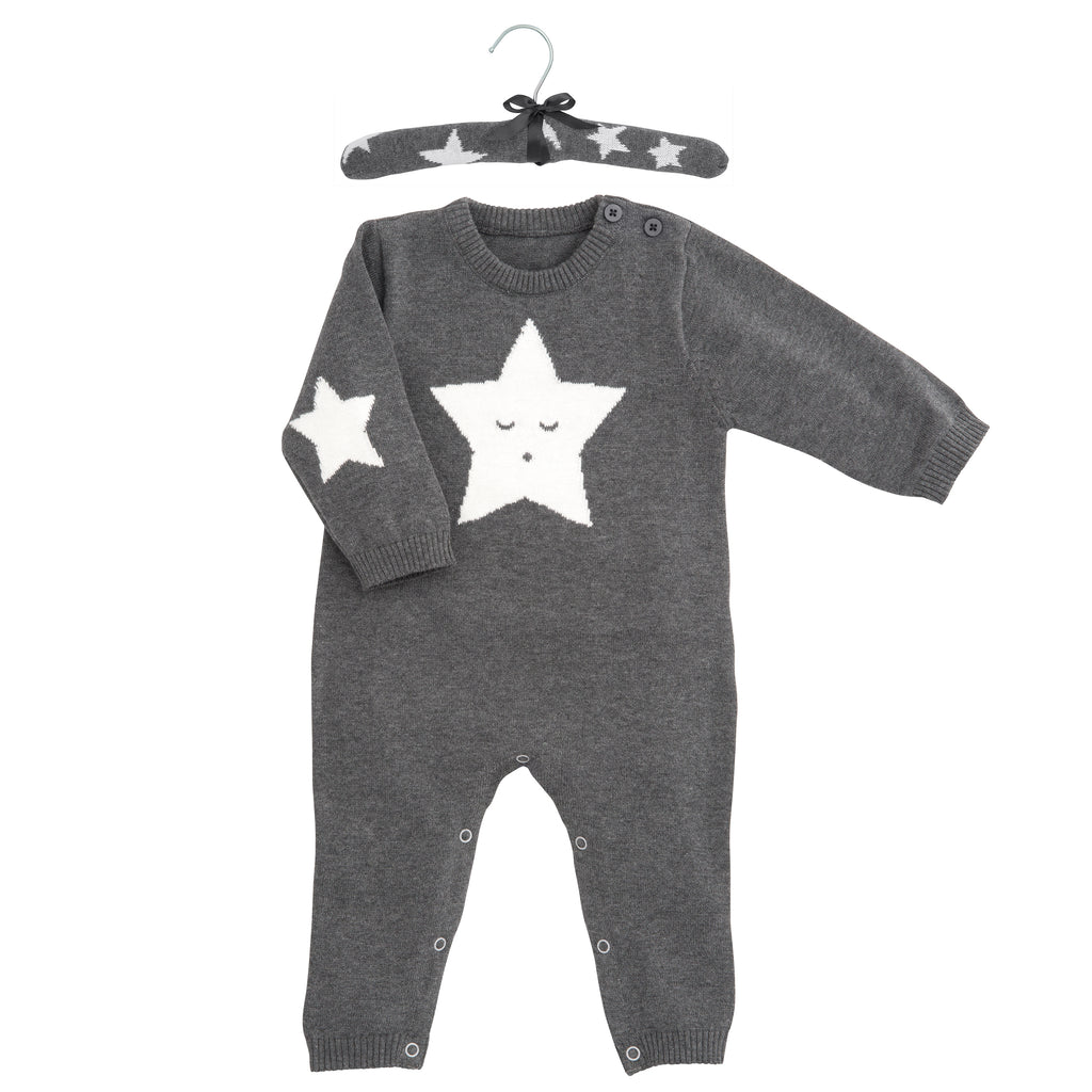 Charcoal Star Knit Baby Bodysuit