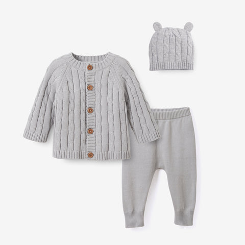 Gray Cable Knit Baby Gift Set 3pc