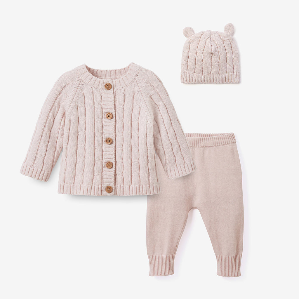 Chalk Pink Cable Knit Baby Gift Set 3pc